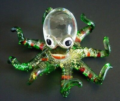 Glass OCTOPUS SQUID Sparkly Glittery Green Legs Glass Animal Glass Ornament Gift