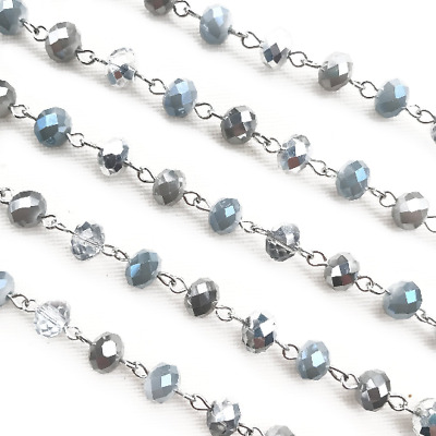 Gray Gatsby Crystal Rondelle Beaded Rosary Antique Siilver Eyepin Chain 8mm 2ft