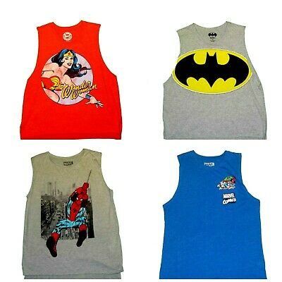 Marvel Comics Wonder Woman Batman Spiderman Junior Muscle Tank Tops NWT