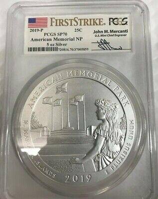 2019-P American Memorial Park 5 oz. Silver ATB PCGS SP70 FS Mercanti Label  001