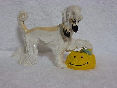 Masked Cream Afghan Hound And Smiley Face Clay Sculpture Figurine -Lynne Watson