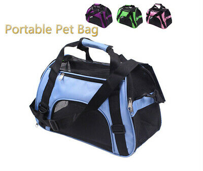 Portable Pet Carrier Hand-Held Bag Nylon Mesh Pure Color Soft Sided Travel Crate