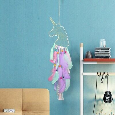 New Unicorn Dream Catcher Girl's Gift Nursery Wall Hanging Handmade With Feather
