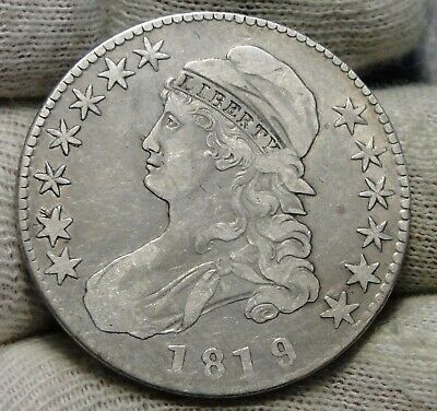 1819/8 Capped Bust Half Dollar 50 Cents - Nice Coin, Free Shipping (8151)