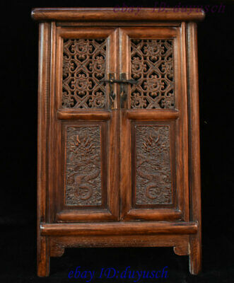 "15"" Old Chinese HuangHuaLi Wood hand-made Dragon Statue Drawer Cupboard Cabinet"