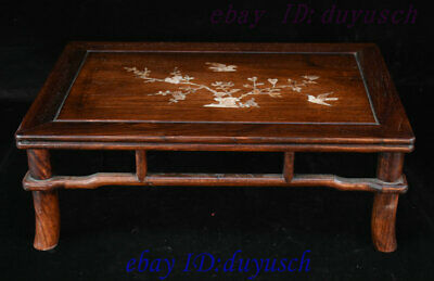 "21"" Chinese Huanghuali Wood Inlay shell Bird flowers Furniture table Desk Tables"