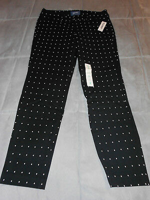 NEW OLD NAVY size 4 reg PIXIE pants black & white 28 x 26 ANKLE STRETCH NWT