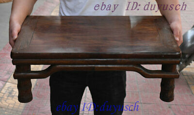 "24"" Old Chinese Folk Huanghuali Wood handcrafted Tea ceremony Tea table Statue"