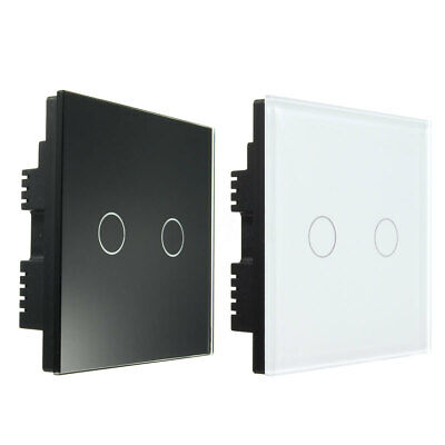 2 Way 2 Gang Tempered Glass Touch Switch Wall Light Remote Control Smart Panel