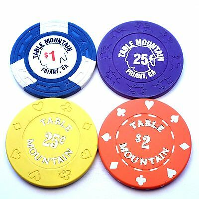 Lot of 4 different TABLE MOUNTAIN Casino $2/$1/25c chips Friant CA California