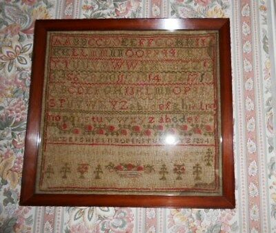 Antique late 1800's Stitchery Sampler with 1920's frame, all original.