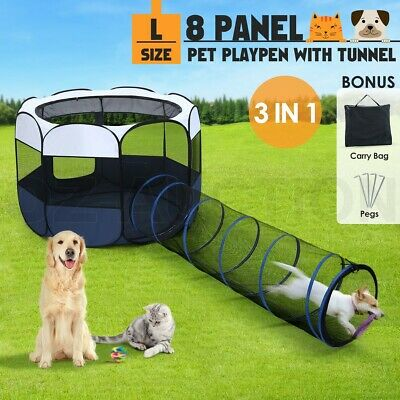 144cm 8 Panels Portable Pet Playpen Tent Puppy Dog Cat Kennel Crate Cage Tunnel
