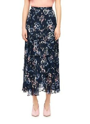 54065f42d Rebecca Taylor NEW Blue Women's Size Small S Floral Print Tiered Skirt $495  #634