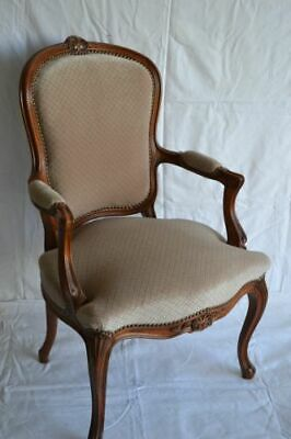 LOUIS XV ARM CHAIR FRENCH STYLE CHAIR VINTAGE FURNITURE light brown