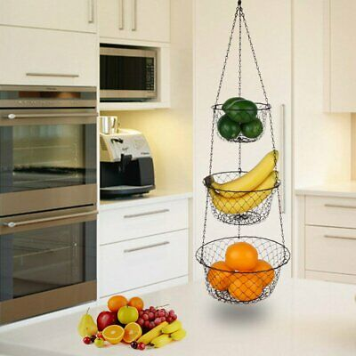 BLACK METAL BASKET Fruit Storage 3 Tier Hanging Kitchen Hook ...