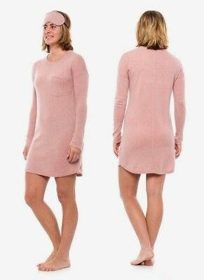 Cynthia Rowley 100% Cashmere Nightshirt with Cashmere Eye Mask in Pink sz XS