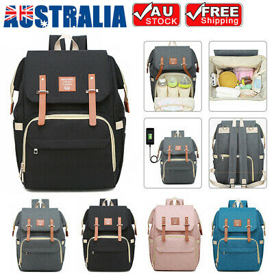 Luxury Multifunctional Diaper Nappy Bag Backpack Waterproof Mummy with USB Port