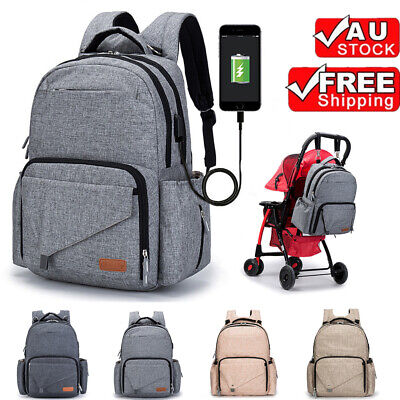 Luxury Multifunctional Waterproof Baby Nappy Backpack Mummy Bag with USB Port