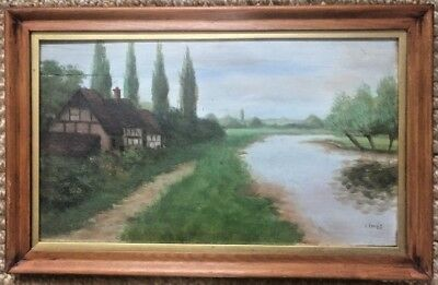 Antique Vintage Oil Painting on Wood Oak Panel Wood Framed signed I.Jones c.1930