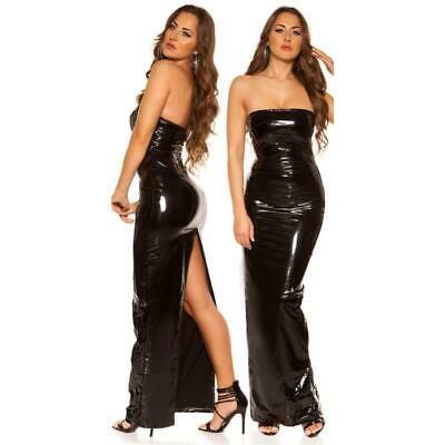 Bodenlanges Clubkleid in Latex-Look Clubwear Schwarz #GW848