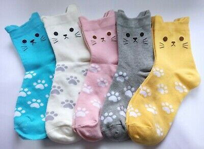 Pawprints Ankle Socks with cat face/ears UK 4-7 (5 colour choice)
