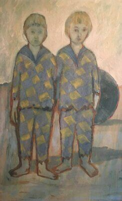 Large 1960's French Modernist Signed Oil - Blue Period Style - Boys On Beach