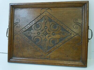 Vintage Wooden Tray Decorative Carved Panel 42 x 33 cm With Handles
