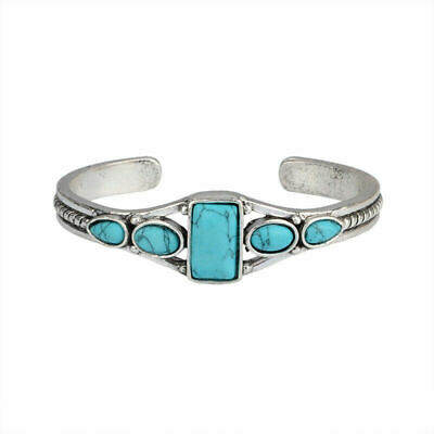 Native American Indian Silver Turquoise Open Bangle Cuff Bracelet Jewelry Gift