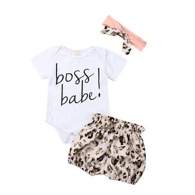 Casual Newborn Baby Girls Leopard print Clothes Top Romper Short Pants Outfit UK