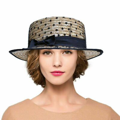 e771288858c0c Womens Cap GATSBY Derby Style Straw Hat Kentucky Tilt Flat Boater Top A426