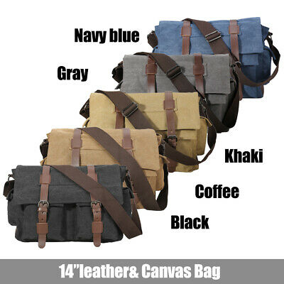 Vintage Leather Canvas Men's 14''Laptop Messenger Shoulder Bag Crossbody Satchel