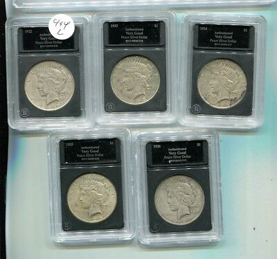 1922 1923 1924 1925 1926  Peace Silver Dollar Lot Of 5 Circulated 494L