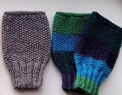 Hand Knitted Wrist Warmers Fingerless Gloves   DK  Blue/Green Mix - Sparkly Grey