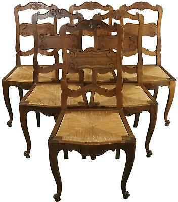 Dining Chairs French Country Farmhouse Oak Rattan Set 6 Vintage 1930