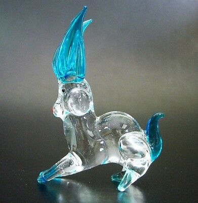 Curio Display Glass RABBIT HARE Turquoise Clear Glass Ornament Glass Animal Gift