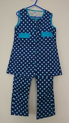 60s 70s Vintage Retro Girls Blue Polka Dot Spot Tunic Flare Trouser Suit Outfit