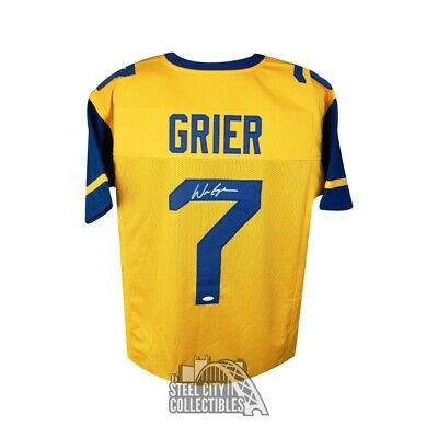 b84ddb171 Will Grier Autographed West Virginia Custom Gold Football Jersey - JSA COA