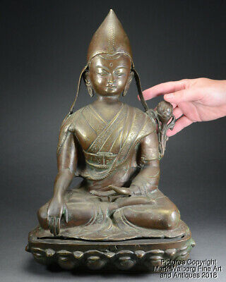 LARGE Chinese / Tibetan Bronze Seated Figure of a Lama, Late 19th to Early 20thC