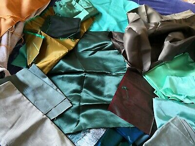 """""""STASH"""" of  LUXURY FABRIC PIECES for TEXTILE ART - SHADES of GREEN"""