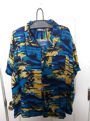 67c59ca8 Mens Pineapple Button Down Hawaiian Shirt Size XL Plam Trees Blue, Yellow,  Green