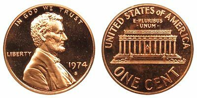 1974 S GEM BU PROOF Lincoln MemoriaL BRILLIANT UNCIRCULATED PENNY US COIN PF