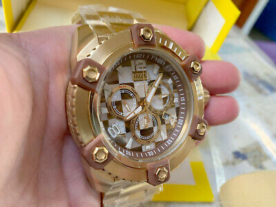 Invicta Reserve Grand Octane Mosaic 63mm Gold Plated Steel Swiss Mvt Watch New