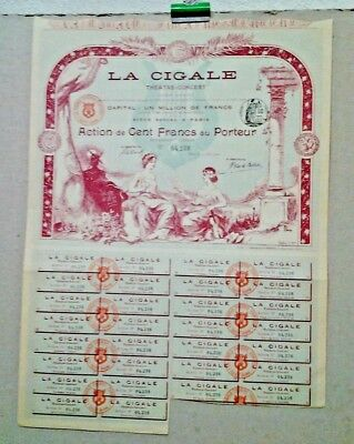 Action De 100 F La Cigale Theatre Concert Benoist Notaire Paris 1900