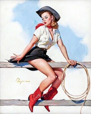 GIL ELVGREN 8x10 PIN-UP GIRL ART MINT PRINT-1950s Rodeo Leg Upskirt Blonde