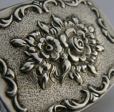QUALITY STERLING SILVER CAST LID SNUFF or PILL BOX c1950s WEST GERMAN