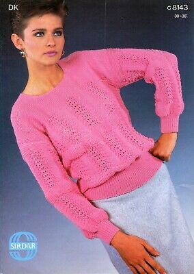 "Donna Dk /""Bears Paw/"" Stitch lacy sweater vintage Knitting Pattern istruzioni"