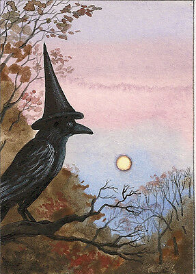 ACEO RAVEN CROW RYTA WITCH Halloween FOLK ART PRINT OF PAINTING VINTAGE STYLE