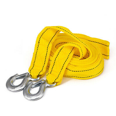 5Tons Car Tow Cable Towing Strap Rope with 2 Hooks Heavy Duty 20FT 18,000LB 4M