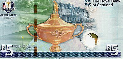"""SPECIAL ROYAL BANK OF SCOTLAND  RYDER CUP  £5 NOTE  22/09/14   """"McEWAN""""  UNC"""