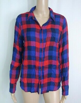 932c1841 Lucky Brand Plaid Flannel Button Down Shirt S Top Blouse Red Blue Purple  Gingham